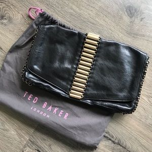 Ted Baker Black Leather Oversized Clutch